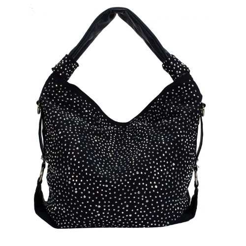 ROSENROT Trendy Glitzer Tasche Handtasche Shopper XL mit Strass aktuelle Kollektion (Schwarz)