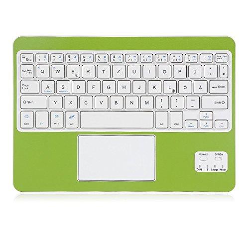 CoastaCloud Bluethooth Tastatur QWERTZ Deutsche Tastatur mit Touchpad Universal Für Alle Windows/Android OS Tablet PC/Galaxy Tabs und Mobil,Grün und Weiß