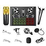 N&W Live Sound Card Portable Mobile Audio Mixer Mixer Recording Sound Card Live K Song Recording Voice Chat A Variety of Funny Sound Effects Gold