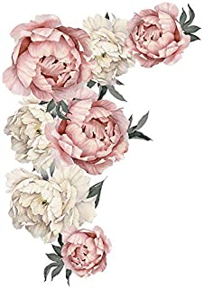 Peony Rose Flowers Wall Sticker,Peel & Stick Removable Wall Art Decals for Sofa Background Living Room Bedroom Kitchen Nursery Room Decorations,Finished Size 28.1 x 40.2 inch