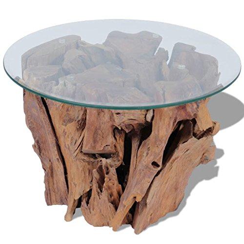 *vidaXL Massivholz Teak Beistelltisch 60 cm Couchtisch Glasplatte Kaffeetisch*
