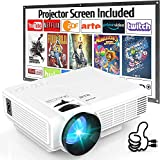 Proyector, Proyector de Video Soporta 1080P HD, Proyector Mini Compatible con TV Stick PS4 Xbox Wii HDMI VGA SD AV USB, Home Theater Proyector, Blanco.