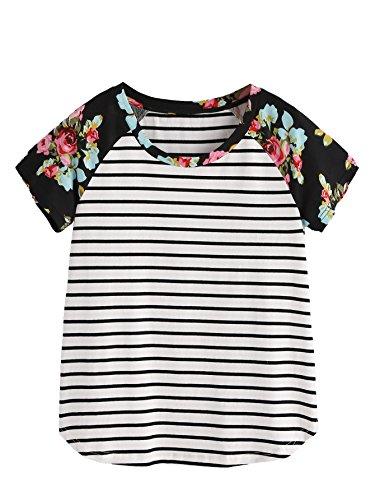 Romwe Women's Floral Print Short Sleeve Tops Striped Casual Blouses T Shirt Black L