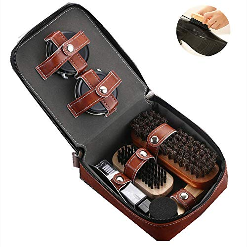 MZ Shoe Shine Kit,Brush Shoe Shiner Dust Cleaner, with Leather Case, 9-Piece Travel Shoe Shine Brush kit, for Shoes, Bags, Sofa.6.1 * 4.9 * 2.5in