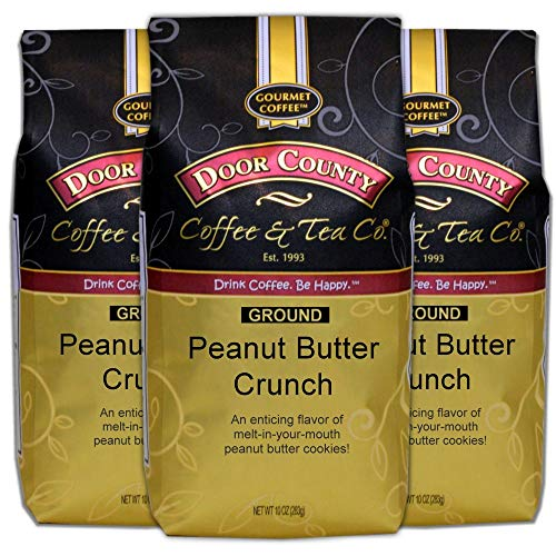 Door County Coffee, Peanut Butter Crunch, Flavored Coffee, Medium Roast, Ground 10 oz Bags (Pack of 3)