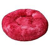 Cama original para gatos y perros de lujo de piel de donut Donut Donut, cama de gato Malvavisco, mullida, cómoda y linda piel sintética para interior, color rojo, 40 cm