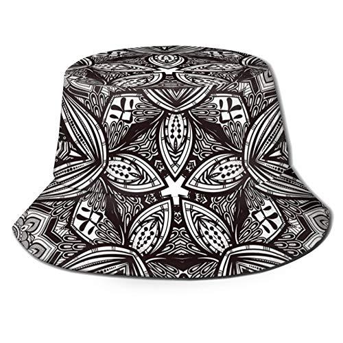 Fisherman Senderismo Sombrero De Ala Ancha,Etnica Paisley Mandala Tribal Estilo Oriental Vintage Tatuaje Patrón Artístico