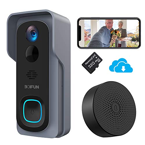 Timbre Inalámbrico con Cámara, BOIFUN HD 1080P Video Timbre Inteligente WiFi, IP66 Exterior Impermeable, Batería de 6700mAh, Visión Nocturna, Comunicación Bidireccional [Incluye Tarjeta SD 32G]