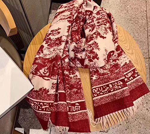 Herfst en winter nieuwe sjaal plastic wrap konijn fluweel kern garen inkt schilderij tijger figuur warm dikke mode nieuw