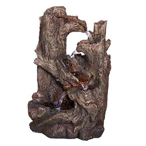 Alpine Corporation 5-Tier Rainforest Tree Trunk Water Fountain with LED Lights - Outdoor Water Fountain for Garden, Patio, Deck, Porch - Yard Art Decor
