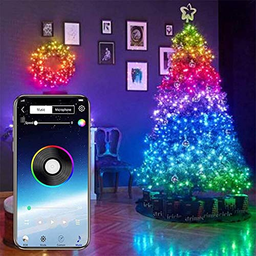 Unique WElinks USB-Mobile Bluetooth-LED-Lichterkette für Weihnachtsbaum-Dekoration, App-Fernbedienung, Verfärbungs-Beleuchtung, Weihnachten, Hochzeit, Party, Dekoration, Ornamente (20 m, 200 LED)