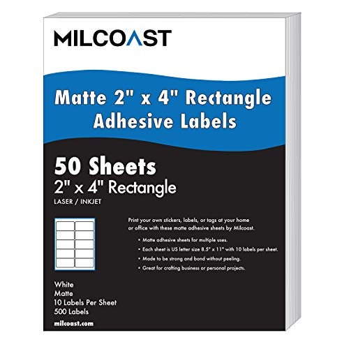 """Milcoast Matte White Adhesive 2"""" x 4"""" Rectangle Shaped Labels - for Laser/Inkjet Printers - 500 Labels (50 Sheets)"""