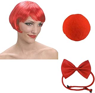 Mens Comic Clown Costume Red Wig Nose Bow Tie Set Ladies Fancy Dress Accessory
