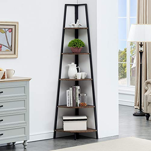 O&K FURNITURE 5-Shelf Corner Etagere Bookcase for Small Space, Industrial Tall Corner Bookshelf,...