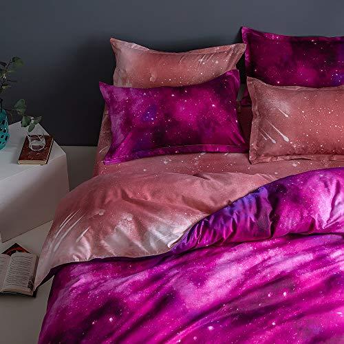 Fansu Set di Biancheria da Letto Matrimoniale de 4 Pezzi, Universo Galaxy Starry Set Copripiumino per Letto Matrimoniale con Lenzuola Piane e 2 federe (Rosa Rossa,220x240cm)