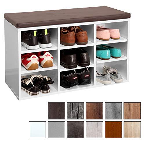 RICOO WM035-W-B, Banco Zapatero, 79x49x30, Armario Interior con Asiento, Organizador Zapatos, Mueble recibidor, Perchero Entrada, Madera Blanco