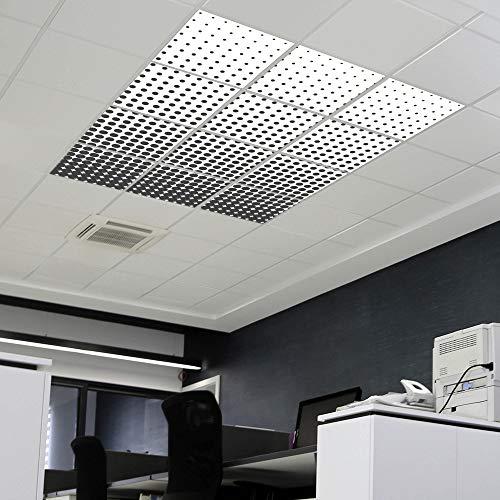 banjado LED Lichtdecke mit Acrylbild | Lichtdeckenplatte Acryl 124x186cm Schwarz Weiß | Panel für Deckenleuchte Rasterdecke | Bürolampe, Praxisleuchte, Rezeption oder Wartezimmer