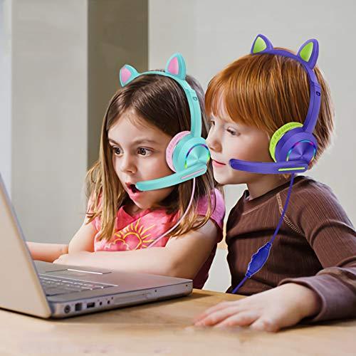 JINQII AKZ-020 - Auriculares para juegos con cable de 3,5 mm, con micrófono, auriculares para niños