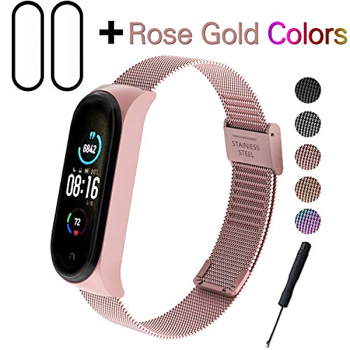 Milomdoi [3 Articulos] 1 Oro Rosa Color Correas + 2 Unidades TPU Protector Pantalla para Xiaomi Mi Band 5, Wristband Repuesto Bandas de Acero Inoxidable Reemplazo Pulseras-Oro Rosa