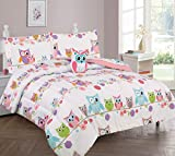 GorgeousHomeLinen 6-PC Twin Complete Bed in A Bag Comforter Bedding Set with Furry Friend and Matching Sheet Set for Kids (Twin, OWL White)