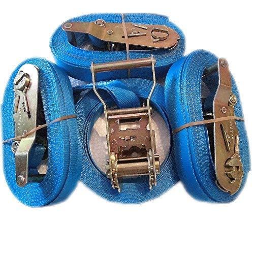 4 stuks blauwe spanbanden met profiratsche 1000 dan Ratelriem blauw