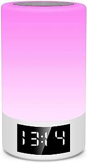 DKee Tarjeta De Altavoz Bluetooth Inalámbrico Radio FM Reloj Despertador Atenuación Táctil Lámpara De Mesa Creativa Luz Co...