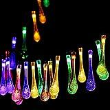 Samoleus LED Solar Lichterkette Aussen, 20 LED 4.8 Meter Lichterkette Wassertropfen, Solarlichterkette Außen Lichterkette Weihnachten für Partydekorationen Garten Hochzeiten (Wassertropfen-Farbe)