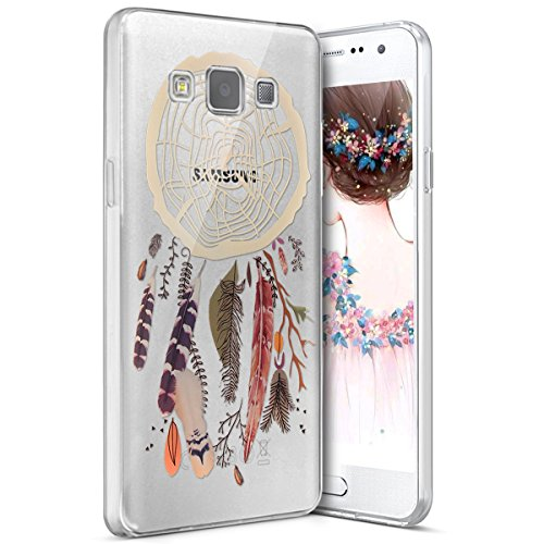 Surakey Samsung Galaxy A3 Cover, Silicone Morbido Trasparente HD Cristallo Chiaro Custodia con Disegno Creativo Protettiva Skin Ultra Sottile e Leggero Cover per Samsung Galaxy A3,Acchiappasogni