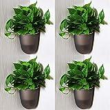 Sungmor Jardinera Colgante de Esquina de Pared con ángulo de 90 ° - Paquete de 4 Piezas y Negro - Jardineras Verticales de riego automático montadas en la Pared - Elegantes macetas Triangulares