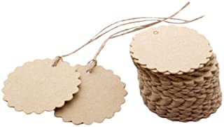 EORTA 100 Pieces Kraft Paper Round Tags with Jute String Small Laciness Paper Hanging Tags Blank Labels Brown Gift Cards w...