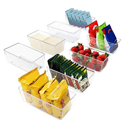 Kurtzy Kühlschrank Organizer Box Set für Küche, Schränke (8Stk) Plastik Organizer 20cm Lang, Ordnungssystem Transparent für Bad, Speisekammer, Gefrierschrank, Küchenschrank Organizer Schublade