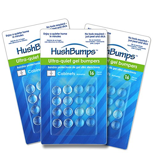 HushBumps Ultra-Quiet Gel Bumpers 3-Pack. Perfect for Cabinets & Drawers. Superior to Common Rubber Bumpers. Provides Soft & Quiet Close. No Tools Required. 48 pcs.