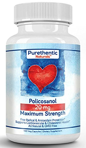 Policosanol 20mg, 100 Vcaps, Purethentic Naturals (1 Bottle)
