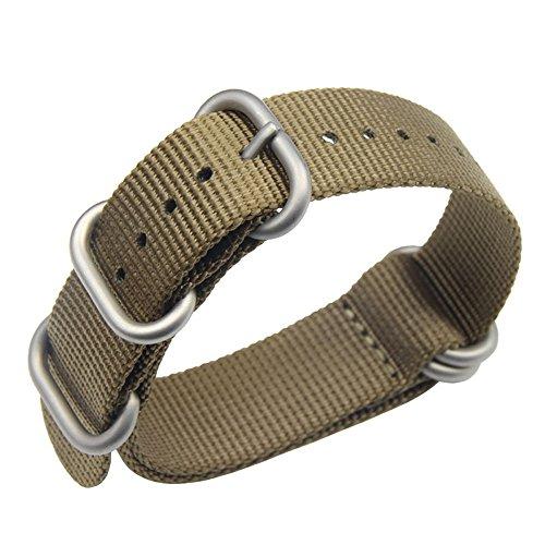 de una Sola Pieza Correas de Reloj de Estilo de la NATO perlón de Nylon de 20 mm de Color Caqui Hombres exquisitos Correas Textiles