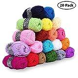 Pack de 20 Madejas Hilo de tejer/Hilo Acrilico - Perfecto para Crochet y Tejer - Acrílicos Skeins en una variedad de colores - 40 Metros Hilo de Acrílico 20 x 25g