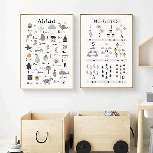 ABC alfabeto arcoíris póster guardería pared arte lienzo impresión pintura niños habitación Cartoon animados pared Cuadros bebé dormitorio decoración