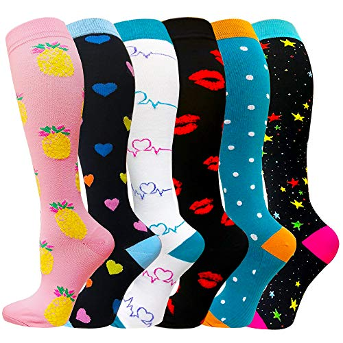Compression Socks For Men & Women(1/3/6 Pairs) - Best Graduated Athletic & Medical for Running, Flight, Travel 20-30mmHg (Assort 17 - 6 Pairs, Small / Medium)