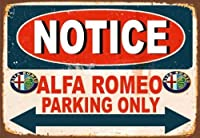 Jocar 壁の装飾牌のデザインアルファロメオパーキングオンリーメタルティンサインポスターウォールプラークアルミニウムのブランドのバーの店のガソリンスタンドの家の室内の室外の装飾の札