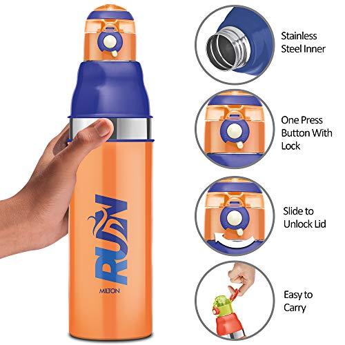 Milton Kool Stunner 900 Insulated School Kids Bottle with Inner Steel, 660 ml, Orange
