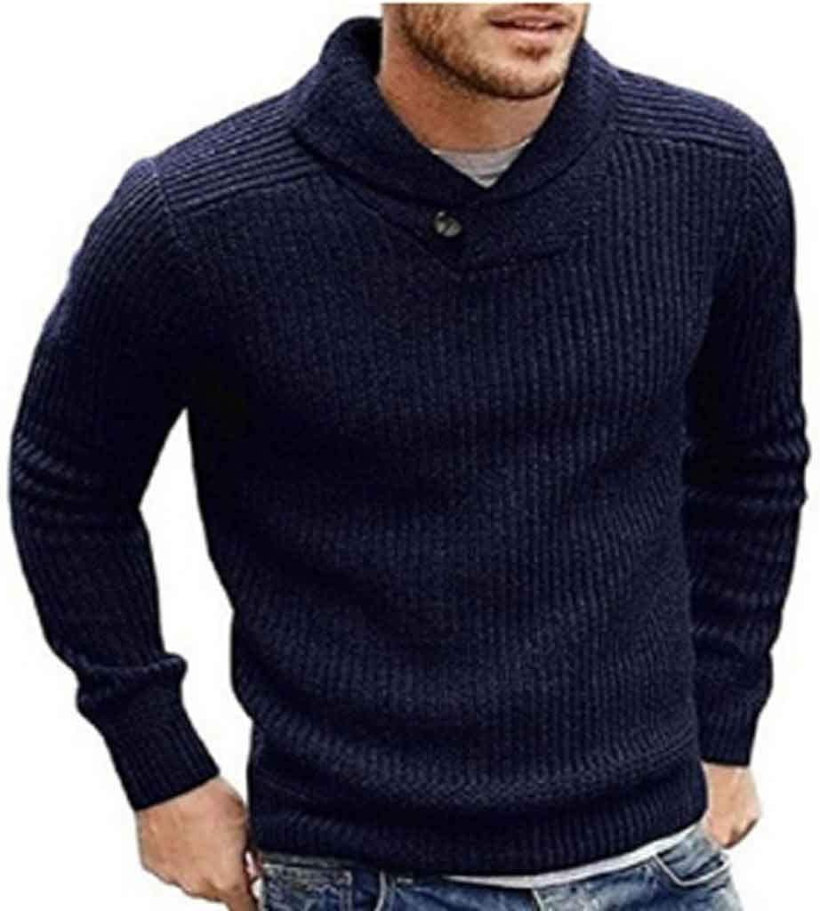 ZYING Men's Sweater Winter Casual Male Wool Jumper Pullover Fashion High Street Pleated Slim Fit Knitted Sweaters Men Clothing (Color : C, Size : XL Code)