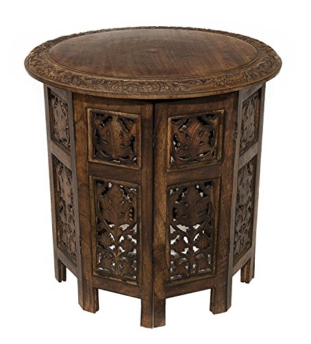 Artesia Solid Wood Hand Carved Rajasthan Folding Accent Coffee Table, 18 Inch Round Top x 18 Inch...