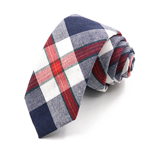 Business Ties for Men Skinny Necktie Cotton Plaid Printed Neck Tie