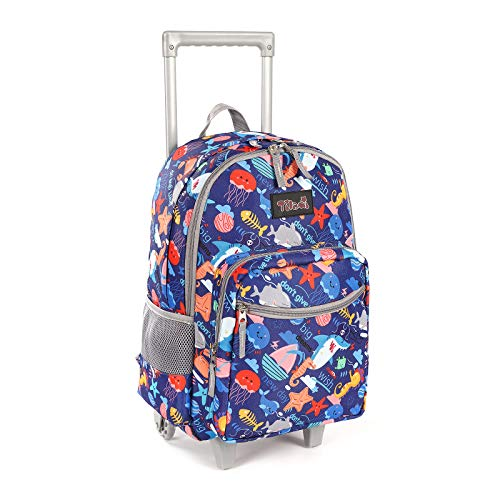 Rolling Backpack 18 inch Double Handle Wheeled Laptop Boys Girls Travel School Children Luggage Toddler Trip, Shark