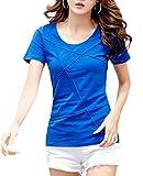 [ルナー ベリー] カットソー 半袖 Tシャツ パイピングデザイン 2タイプ レディース 3203 (S, ブルー_半袖) 女の子 お呼ばれ フェミニン 肌着 薄目 夏服 3203 (S, ブルー_半袖)