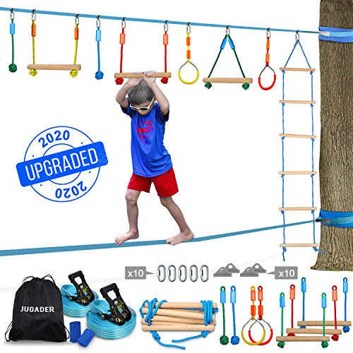 Review Of Jugader Slackline Ninja Line, 50 FT Upgraded Ninja Warrior Training Equipment for Kids wit...