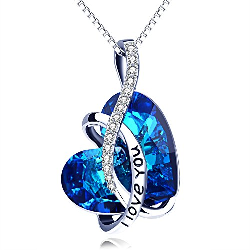 AOBOCO I Love You Necklace Sterling Silver Blue Heart Pendant with Simulated Sapphire Birthstone Crystal from Austria, Anniversary Birthday Jewelry Gifts for Women Girlfriend Wife Daughter Mom
