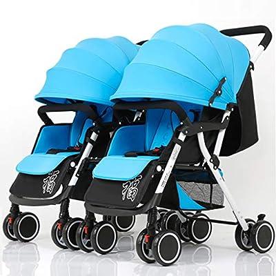 Cochecito De Bebé Gemelo Manija Desmontable El Carro De Bebé Reversible Puede Sentarse Y Acostarse Trolley Doble Plegable Ligero (Color: Caqui + Azul Coral + Rojo Vino)