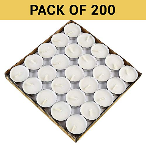 TIED RIBBONS Unscented Tealight Smokeless Diya Candles (Set of 200, White Paraffin Wax)