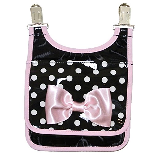 美人家 PVC加工だから汚れにくい 洗濯不要の移動ポケット・ポケットポーチ(ブラック/ドット)pocket-1-2