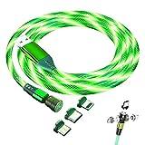 Cable de carga magnético LED, 3 en 1, cable USB magnético 3 A, carga rápida, rotación de 360 ° y 180 °, compatible con iProduct, smartphones Micro USB tipo C (verde)